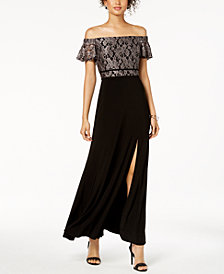 Nightway Off-The-Shoulder Damask Lace & Solid Gown