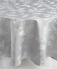 Elrene Metallic Holly 70'' Round Tablecloth