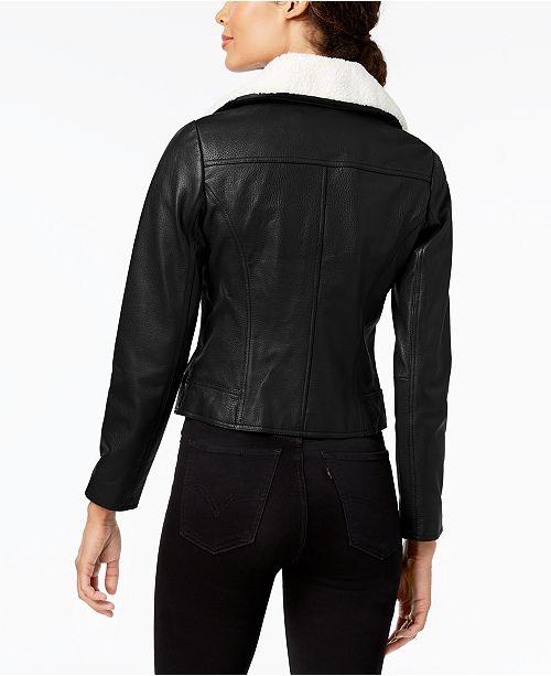3574c4d4341 Michael Kors Plus Size Faux-Fur-Collar Leather Moto Jacket   Reviews ...