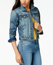 Maison Jules Star-Embroidered Denim Jacket, Created for Macy's