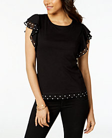 Maison Jules Polka Dot Flutter-Sleeve Top, Created for Macy's