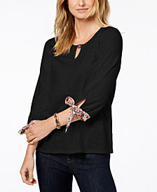 Tommy Hilfiger Cotton Tie-Sleeve Top, Created for Macy's