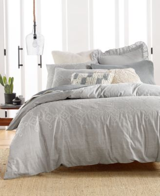 Cotton Reversible 2-Pc. Tile Seed Stitch Twin Duvet Cover Set, Created for Macy's