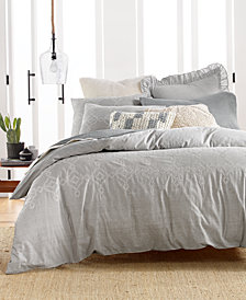 Lucky Brand Cotton Reversible 3-Pc. Tile Seed Stitch King Duvet Cover Set, Created for Macy's