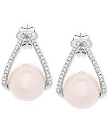 Cultured Freshwater Pearl (8-1/2mm) & Diamond (1/10 ct. t.w.) Drop Earrings in Sterling Silver