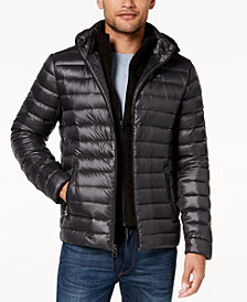 Calvin Klein Men's Packable Puffer Jacket with Fleece Bib