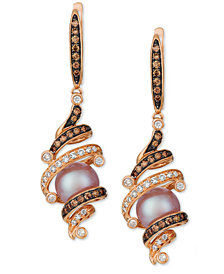Le Vian® Cultured Freshwater Purple Pearl (8mm) & Diamond (5/8 ct. t.w.) Drop Earrings in 14k Rose Gold