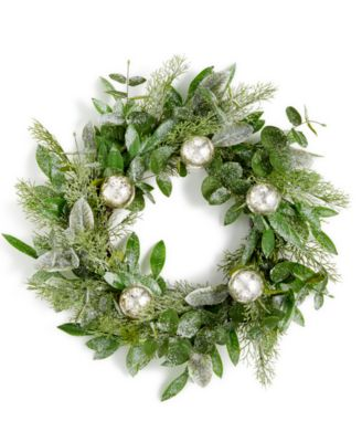 """24"""" Lightly Frosted Wreath with Mercury Glass Balls, Created for Macy's"""