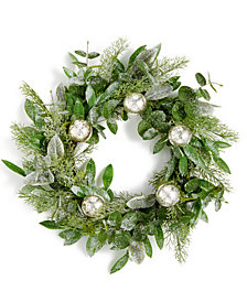 "Martha Stewart Collection 24"" Lightly Frosted Wreath with Mercury Glass Balls, Created for Macy's"
