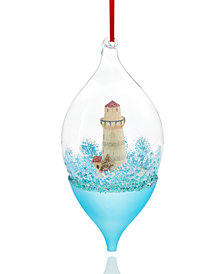 Holiday Lane Glass Drop with Lighthouse Ornament, Created for Macy's