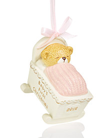 Holiday Lane 2018 Pink Sleeping Bear Cub Ornament, Created for Macy's