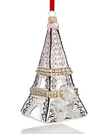 Holiday Lane Silver Eiffel Tower with Gold Glitter Ornament, Created for Macy's