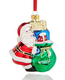 Holiday Lane Glass Santa with Macy's Gift Bag Ornament, Created for Macy's