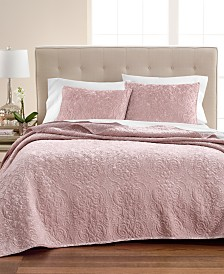 Martha Stewart Collection Pink Rose Velvet Flourish Full/Queen Quilt, Created for Macy's
