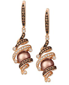 Cultured Tahitian Brown Pearl (8mm) & Diamond (5/8 ct. t.w.) Drop Earrings in 14k Rose Gold