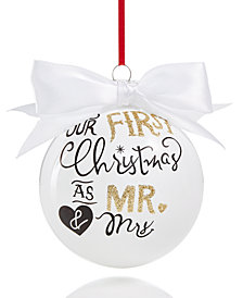 Holiday Lane ''Mr. & Mrs.'' Ball with White Satin Bow Ornament, Created for Macy's