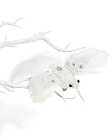 Holiday Lane White Bird with Sequins Bird Clip Ornament, Created for Macy's