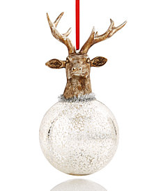 Holiday Lane Deer-Head-Topped Round Ball Ornament, Created for Macy's