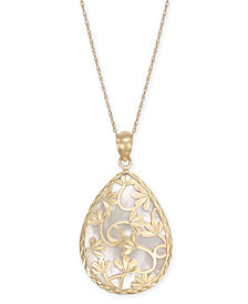 "Mother-of-Pearl Flower Filigree 18"" Pendant Necklace in 14k Gold"