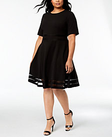 Calvin Klein Plus Size Illusion-Inset Fit & Flare Dress