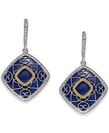 Lapis Lazuli (19mm) Filigree Drop Earrings in Sterling Silver & 14k Gold