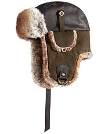 Men's Faux-Leather Trooper Hat, Created for Macy's