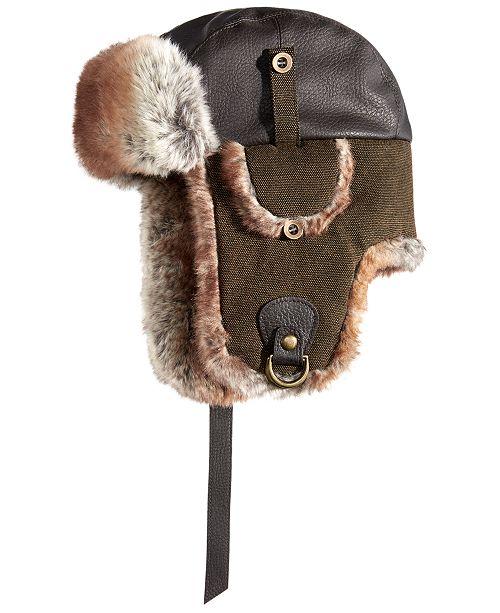 b1f49a61501 ... Woolrich Men s Faux-Leather   Canvas Trooper Hat