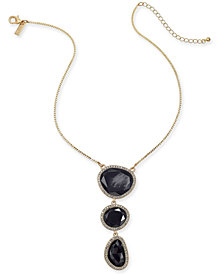"I.N.C. Gold-Tone Pavé & Stone Triple-Drop Pendant Necklace, 16"" + 3"" extender, Created for Macy's"