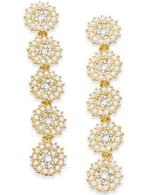 I.N.C. Gold-Tone Crystal & Imitation Pearl Flower Linear Drop Earrings, Created for Macy's