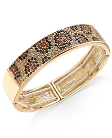 Thalia Sodi Gold-Tone Leopard Pavé Bangle Bracelet, Created for Macy's