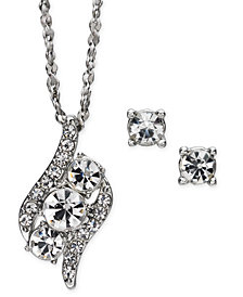 "Charter Club Silver-Tone Crystal Pendant Necklace & Stud Earrings Set, 17"" + 2"" extender, Created for Macy's"