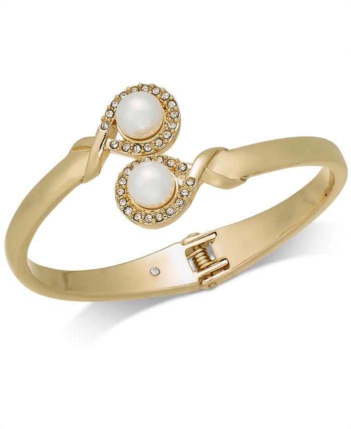 Charter Club - Gold-Tone Imitation Pearl & Pavé Bypass Hinged Bangle Bracelet