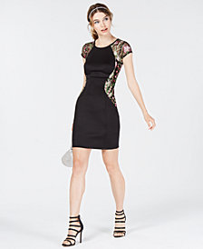 BCX Juniors' Embroidered Illusion-Contrast Dress