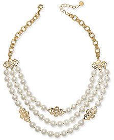 "Charter Club Gold-Tone Openwork Flower & Imitation Pearl Triple-Row Statement Necklace, 18"" + 2"" extender, Created for Macy's"
