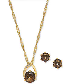 "Charter Club Gold-Tone Pavé and Stone Pendant Necklace & Stud Earrings Set, 15"" + 3"" extender, Created for Macy's"