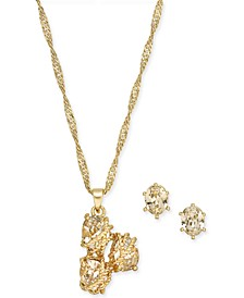 "Gold-Tone Triple-Stone Wrap Pendant Necklace & Stud Earrings Set, 17"" + 3"" extender, Created for Macy's"