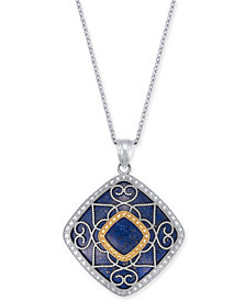 "Lapis Lazuli (26mm) Filigree 18"" Pendant Necklace in Sterling Silver & 14k Gold"