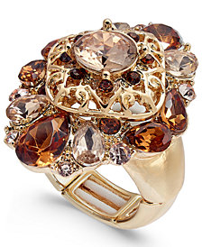 Charter Club Gold-Tone Stone Cluster Stretch Ring, Created for Macy's