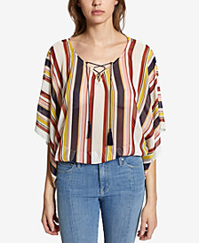 Sanctuary Striped Lace-Up Top