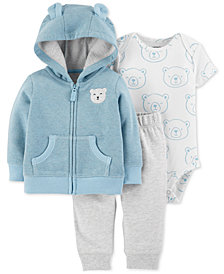 Carter's Baby Boys 3-Pc. Bear Hoodie, Bodysuit & Pants Set