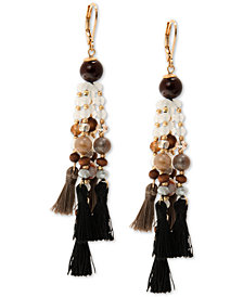 lonna & lilly Gold-Tone Bead & Tassel Chandelier Earrings