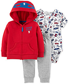 Carter's Baby Boys 3-Pc. Cotton Super Cute Hoodie, Bodysuit & Pants Set