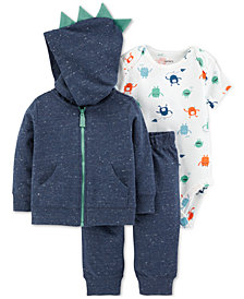 Carter's Baby Boys 3-Pc. Cotton Spikes Hoodie, Monster-Print Bodysuit & Pants Set