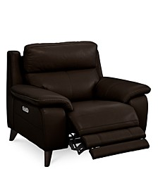 "Milany 46"" Leather Power Recliner with Power Headrest and USB Power Outlet, Created for Macy's"