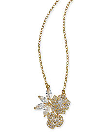 "kate spade new york Gold-Tone Crystal Flower Pendant Necklace, 15"" + 3"" extender"