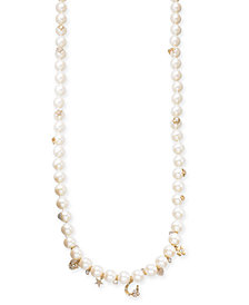 "kate spade new york Gold-Tone Crystal & Imitation Pearl Charm Strand Necklace 35"" + 3"" extender"