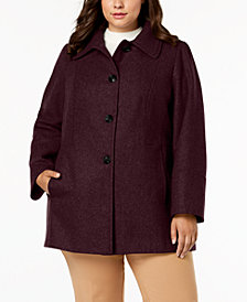 London Fog Plus Size Layered-Collar Peacoat