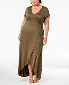 Planet Gold Trendy Plus Size Faux-Wrap Maxi Dress