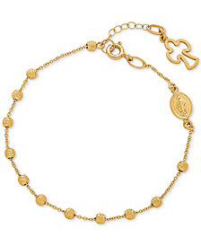 Our Lady of Guadalupe Cross Charm Rosary Bracelet in 14k Gold