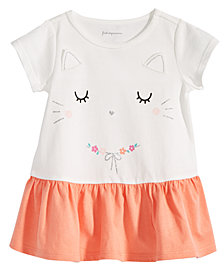 First Impressions Toddler Girls Kitty-Print Cotton Peplum Tunic, Created for Macy's
